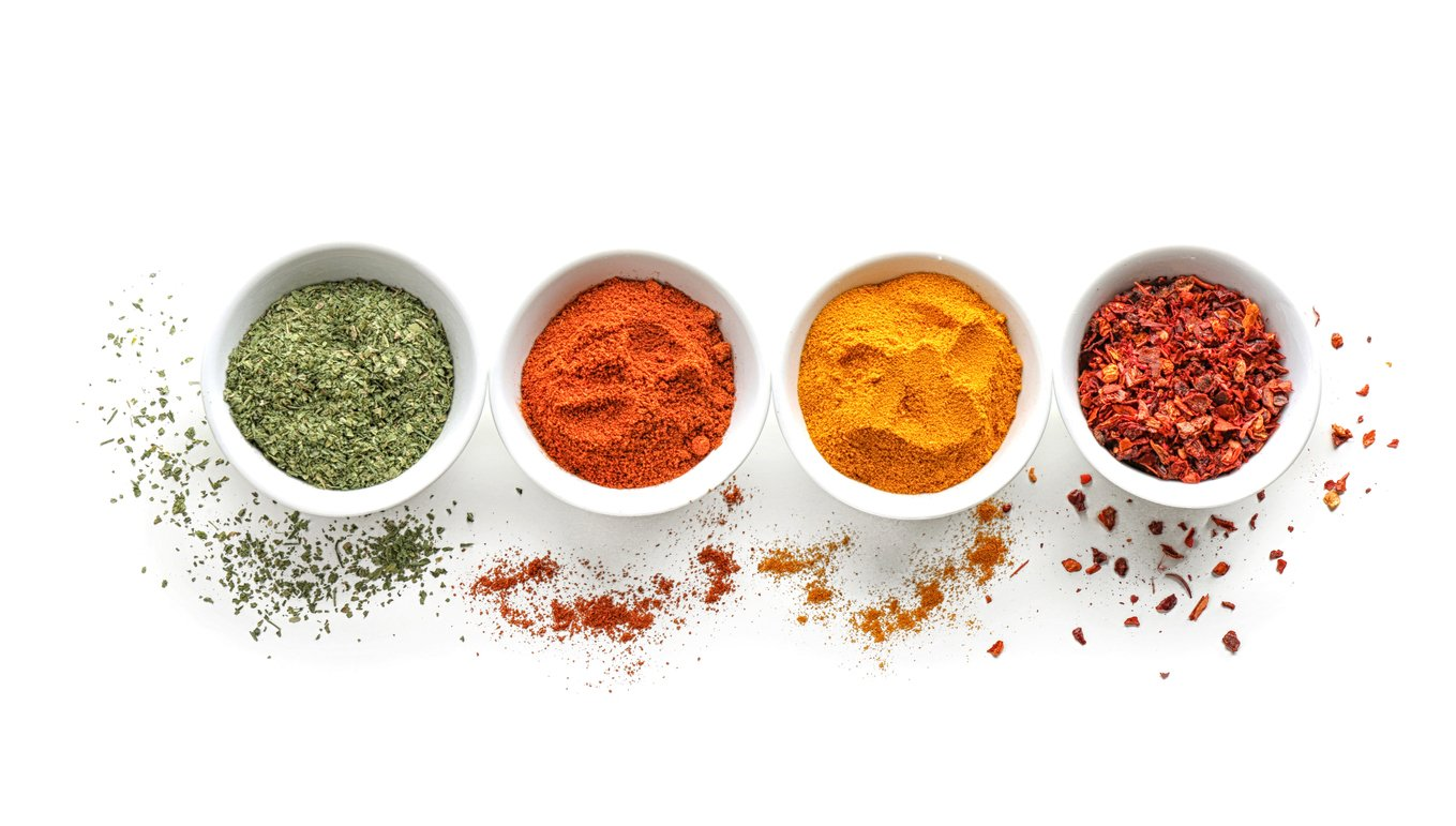 Bowls with various spices
